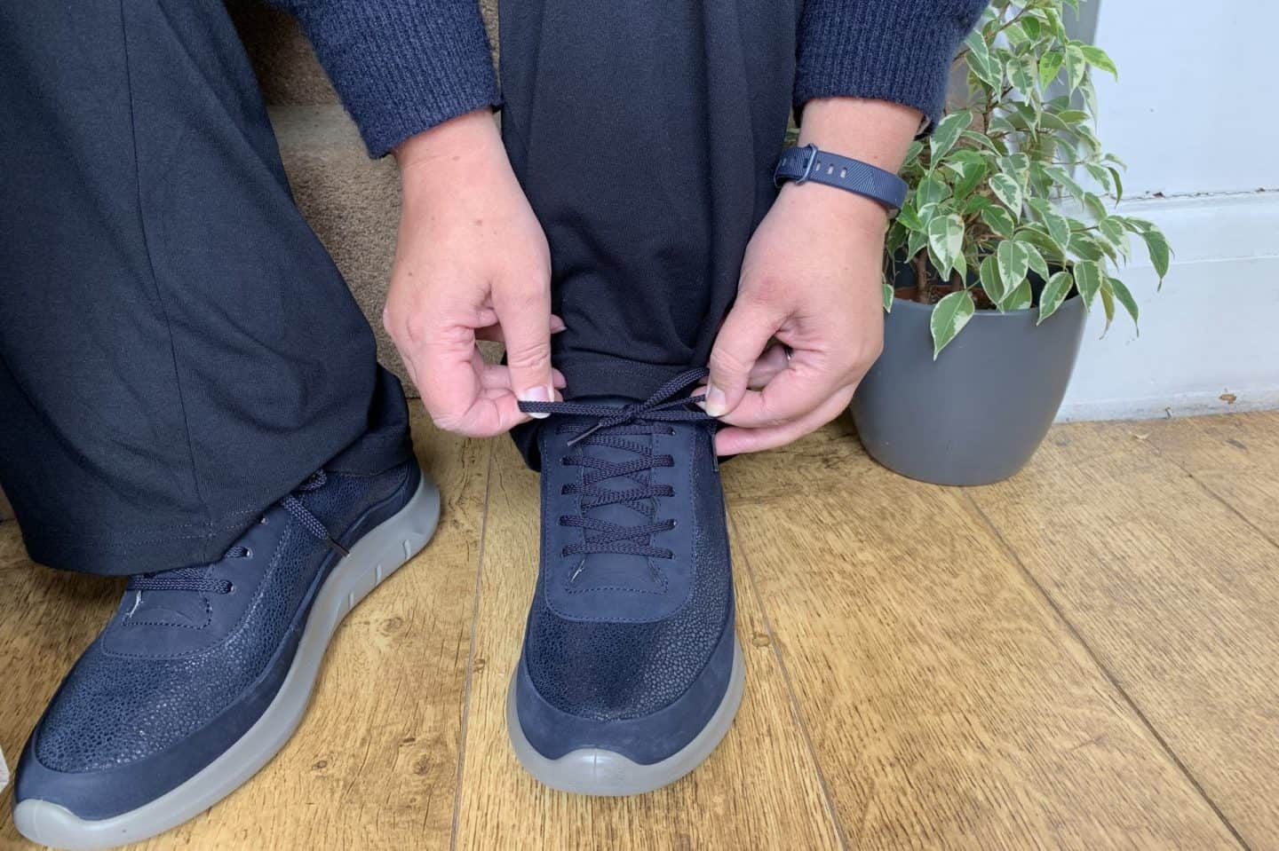 Lace up navy trainer from Hotter